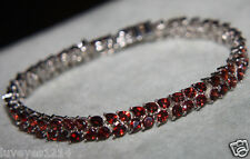 Chuck Clemency NYCII Shop NBC Sterling Silver 925 Garnet 2 row Tennis Bracelet
