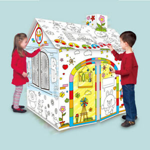 Children Kids DIY Coloring Cardboard Game Play House Painting Educational Toys