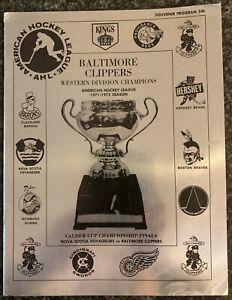 1972-73 Baltimore Clippers  Vs Nova Scotia Voyageurs Hockey Program AHL