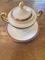 Epiag Czechoslovakia Cobalt Rim Gold Footed Bowl With Lid And Under Plate