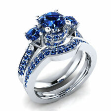 1.62 ct Round Blue Sapphire 10K White Real Gold Bridal Wedding Ring Set Sizeable