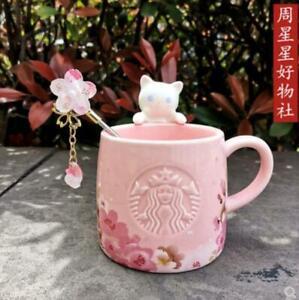 2021 Starbucks Cute Pink Sakura Cat Coffee Mug W/ Stick Rod Cup Christmas Gift