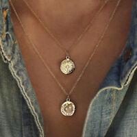 Crystal Moon Star Pendant Multilayer Women Choker Necklace Bohemian Jewelry  BBF