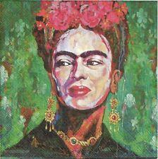 Lot de 4 Serviettes en papier Frida Kahlo Autoprotrait Decoupage Decopatch