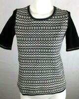 ANN TAYLOR Women's Knit Top Sp Petite Small Black White Short Sleeve