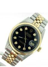mens rolex datejust Date  2 Tone,18k Yellow Gold / Steel W/ Black Diamond Dial