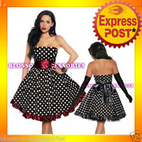 RK55 Rockabilly Bowknot Polka Dots Swing Dress 40s 50s Retro Emo Pin Up Plus