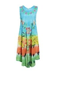 Womens Summer Sun Dress Umbrella Tie Dye Flower Beach Resort Wear Boho Hippie