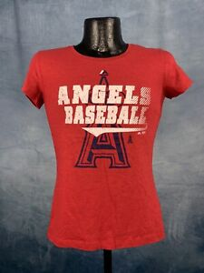 Women's Majestic Los Angeles Angels Red Take That Dual Blend Tee Shirt NWT