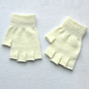 Men Knitted Stretch Elastic Outdoor Mittens Warm Half Finger Fingerless Gloves