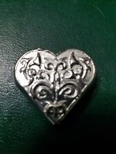 "1.22 ozt Hand Poured 999 Silver Bullion Bar ""Heart"""