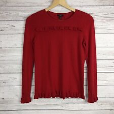 Talbots Womens Sweater Size P Red Long Sleeve Pullover Ruffles 5% Cashmere