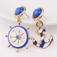 Women's Elegant Navy Anchor Helm Style Alloy Long Dangle Drop Jewelry Earrings