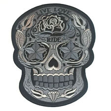 "Live Love Ride Rose Sugar Tattoo Skull Motor Biker Embroidered Patch 10"" x 8"""