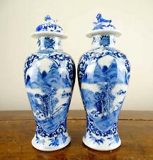 Pair of Chinese Vases Antique Qing Porcelain Blue & White 19th Century Kangxi