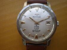 Vintage SWISS TECHNOS Goldshield 21 Jewels Manual Men's Watch,date