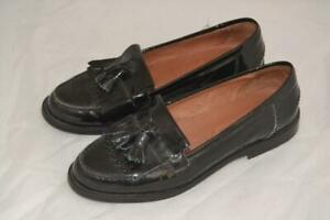 WOMENS BLACK PATENT LEATHER RUSSELL & BROMLEY CHESTER TASSEL LOAFERS UK 5 EUR 38