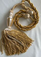 "Designer SINGLE Curtain Tieback Rope Tassel 67"" embrace Gold/Cream HUGE"