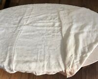 Vintage Coverlet Tablecloth Thin Ivory Beige Woven 72 x 92