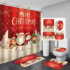 180x180cm Shower Curtain+ Hooks Toilet Floor Mat Lid Cover Rug Snowman Christmas