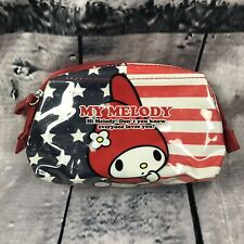 MY MELODY SANRIO COIN PURSE COSMETIC BAG SMALL USA FLAG PLASTIC W/ ZIPPER  (H16)