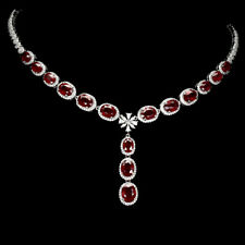 Oval Red Ruby 9x7mm Cz 14K White Gold Plate 925 Sterling Silver Necklace 17 Ins