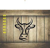Stylized Cow/Bull Head, Stencil 350 micron Mylar not thin stuff#Farm012