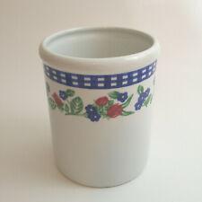BIA Kitchen Crock Utensil Holder Large Blue White Check Floral Design