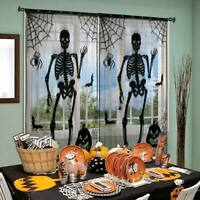 Lace Halloween Window Curtains Spooky Skeleton Spider Web Valance Door Panels