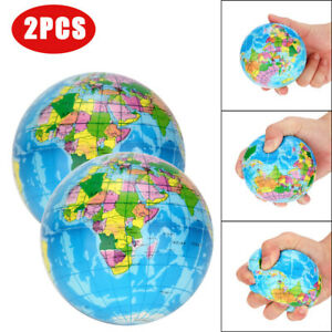 2PCS Stress Relief World Map Jumbo Ball Atlas Globe Palm Ball Planet Earth AB8