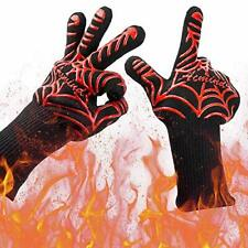 New listing Bbq Gloves, Grill Gloves 1472°F Extreme Heat Resistant, Grilling Black & Red