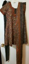 Salwar Kameez Suit Indian Pakistani Size M Silk Crepe Black Orange