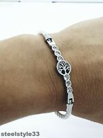 WOMEN'S WOVEN LEATHER BRACELET STAINLESS STEEL TREE OF LIFE WHITE