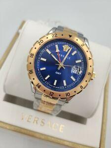 Versace Men's Luxury Swiss Watch V11060017 GMT Blue Dial Two-Tone Bracelet 1yr W