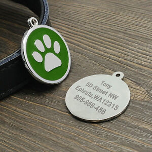Paw Print Personalized Dog Tag Custom Name ID Collar Tag Engraved Free Clicker
