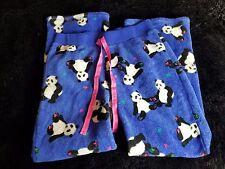 Womens L Panda Bear Blue Plush Pajama Lounge Pants Drawstring Waist Joe Boxer J