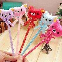 Novel Cute Soft Plush Bear Pattern Design Ball Point Pen For Children Kids Gift