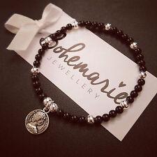 Black onyx mini coin charm bracelet gemstone bijoux jewellery boho gypsy
