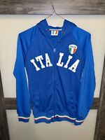 ITALIA Men's Embroidered Full Zip Track Hoodie Blue NWT Size M FAST SHIP!