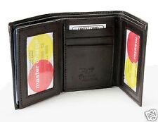 Dark Brown New Mens Trifold Lamb Leather Wallet Multi Pockets Card ID Window 731