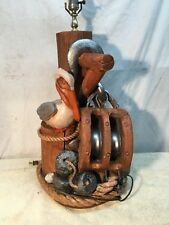 Vintage Chalk Nautical Beach Table Lamp with Pelican Rope Pulley Sea Shell Dock