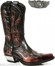 NEWROCK 7921-S2 Ladies New Rock Leather WEST Black Red Cowboy Leather Boots