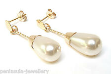 9ct Gold Pearl Teardrop earrings Made in UK Gift Boxed