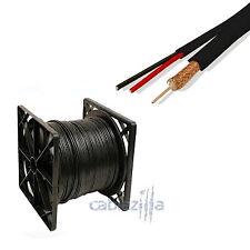 SIAMESE 500FT CCTV RG59 CABLE 18/2 95% BRAID SECURITY CAMERA REEL IN BOX BLACK