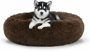 S-XXL Pet Dog Cat Calming Bed Comfy Shag Warm Fluffy Bed Nest Mattress Donut Pad