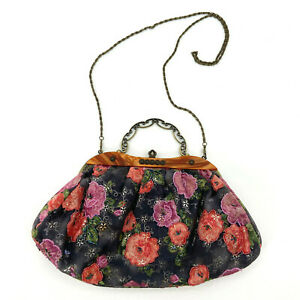 Retro Beaded Clasp Clutch Crossbody Handbag Floral Boho
