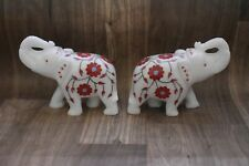 White Marble inlay handcrafted up trunk elephant pair Statue Gifts Home Decor