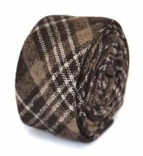 Frederick Thomas mens wool tweed tie in brown, black and white check  FT1951