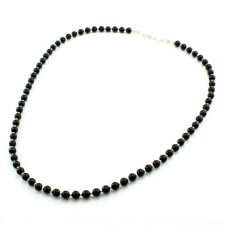 Necklace natural black onyx gemstone round beaded 925 solid sterling silver
