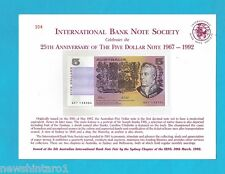 #T54.  1992  BANK NOTE SOCIETY  $5  NOTE  QKT  138304